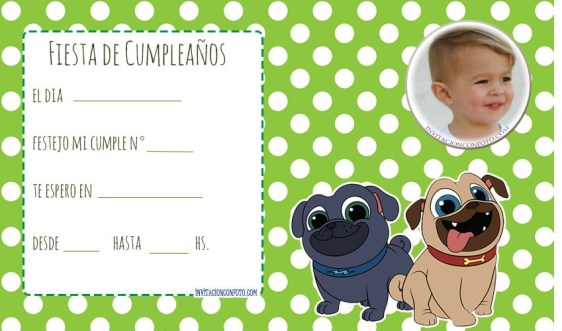 Invitaciones cumpleanos Puppy Dog Pals Bingo y Rolly