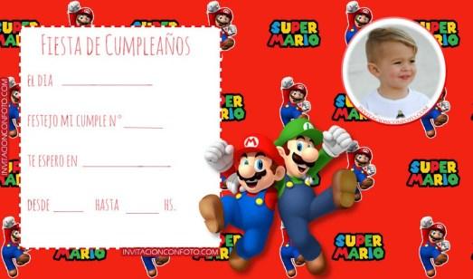 Invitaciones Mario Bros y Luigi - Tarjetas cumpleanos Mario bross