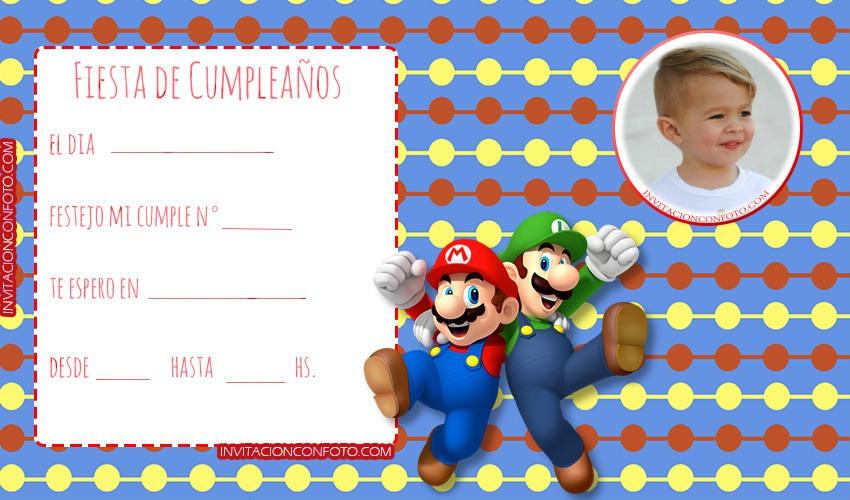 Invitaciones De Cumpleanos Mario Bros Con Foto