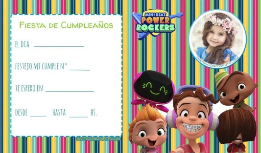 tarjetas de power Rockers cumpleanos