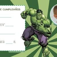 Invitaciones de Cumpleanos de Hulk con Foto