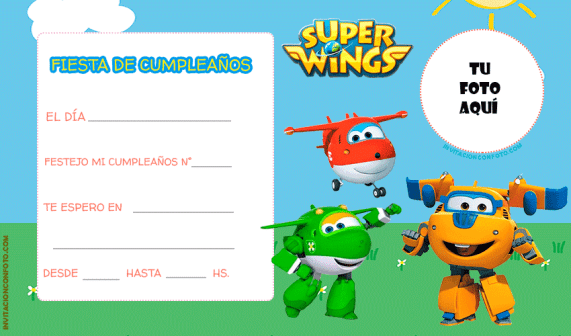 Super Wings Tarjetas Cumpleanos