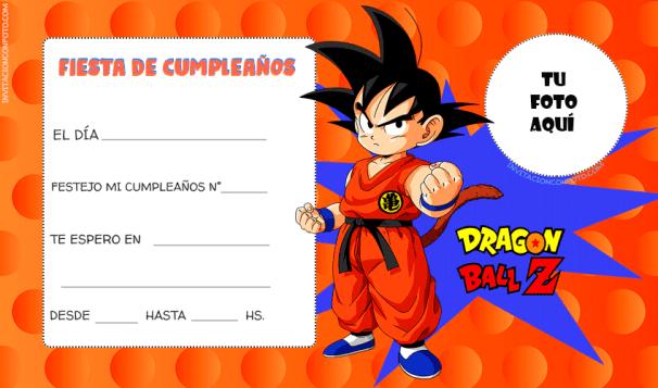 Dragon Ball Tarjetas para editar con Foto