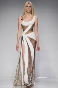 Atelier Versace vestido blanco y negro ajustado ss16 Paris