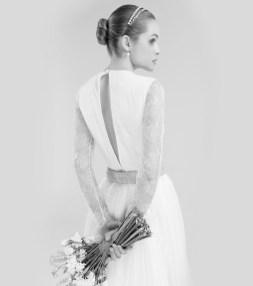 Vestido novia espalda lágrima Cristina Tamborero Atelier