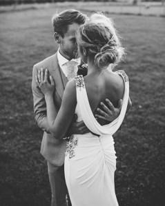 estido novia espalda drapeado