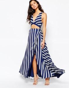 Vestido rayas verticales y crop top para boda