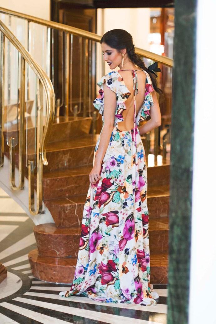 Vestido largo estampado alquilar Adriana Iglesias