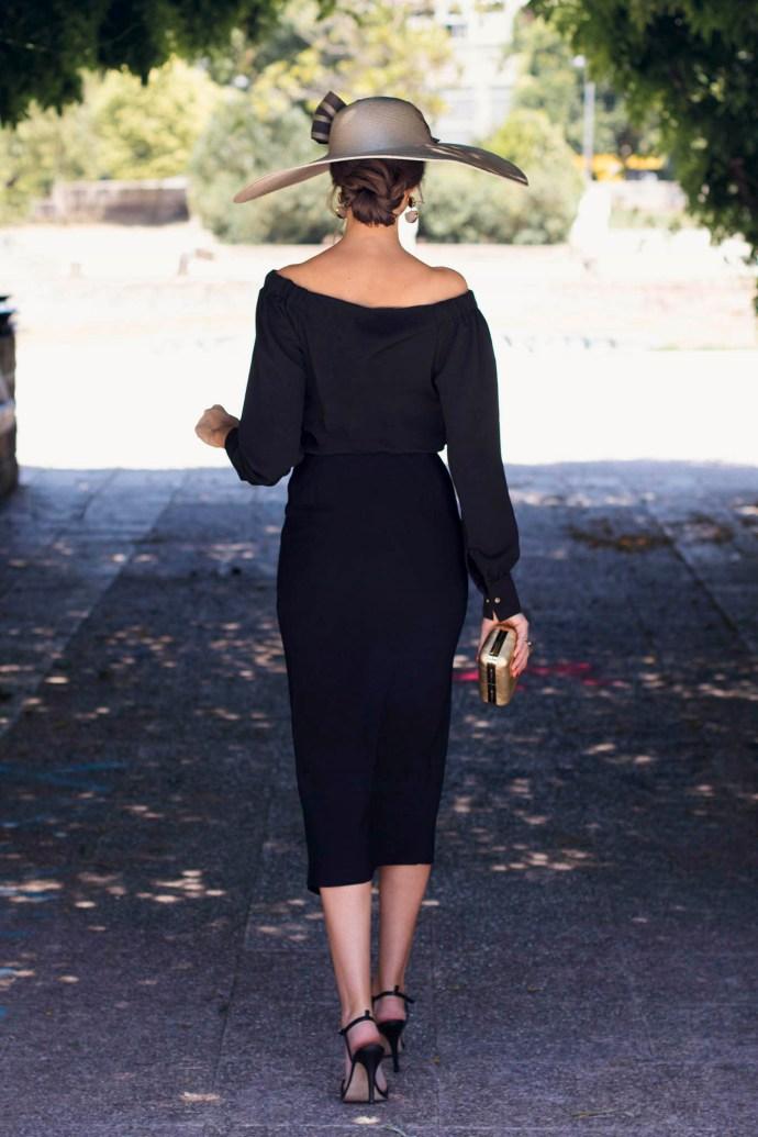 Invitada boda negro pamela blusa falda gemelos