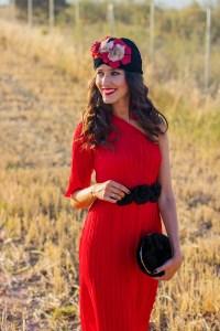invitada boda tubante vestido midi rojo lowcost