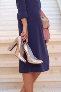 Zapatos a medida tacon ancho dorados oro invitada novia