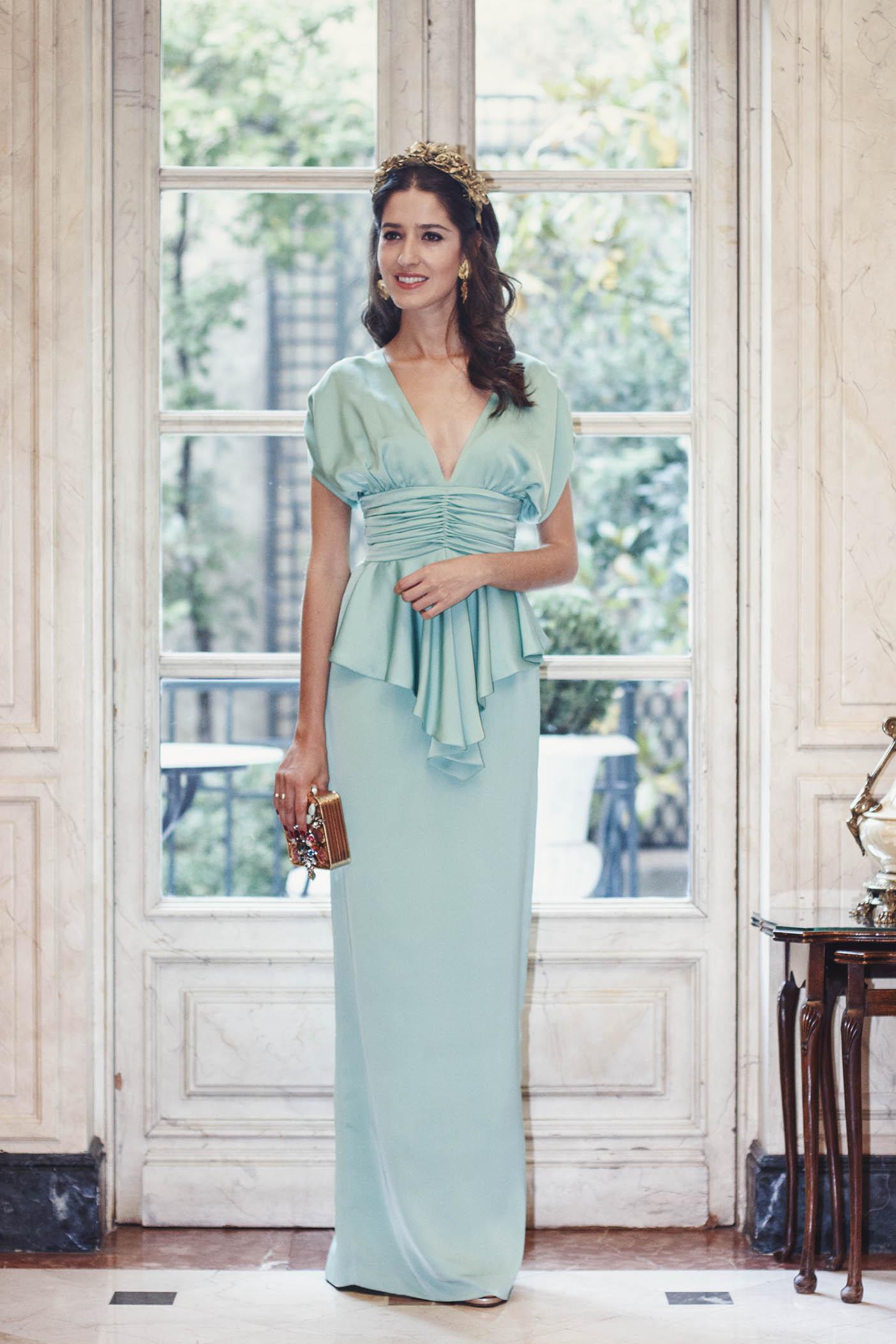 Vestido verde agua invitada boda