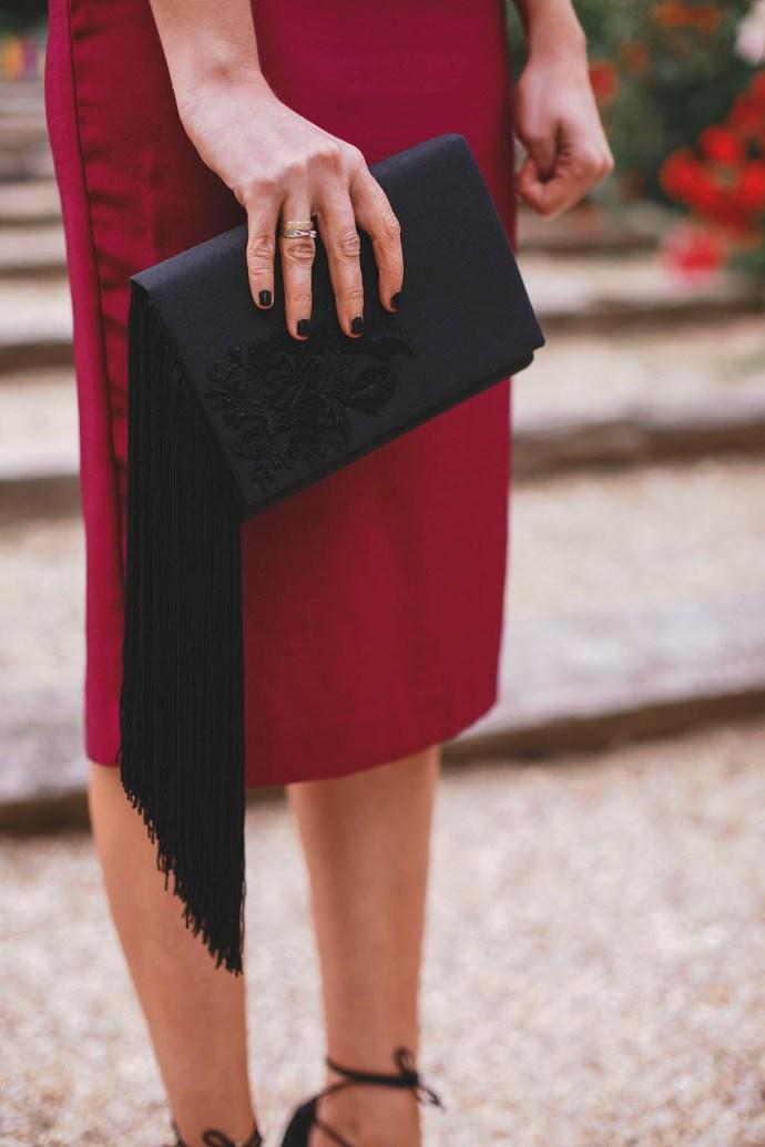 bolso cartera fiesta flecos negro barata invitadas
