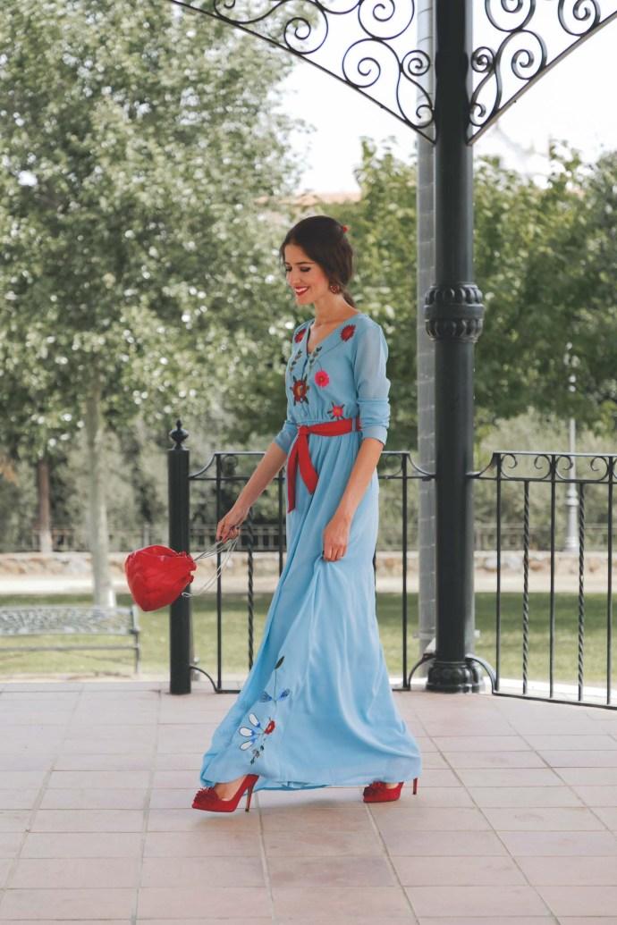 Look invitada otoño boho vestido largo lowcost boda trenza flores