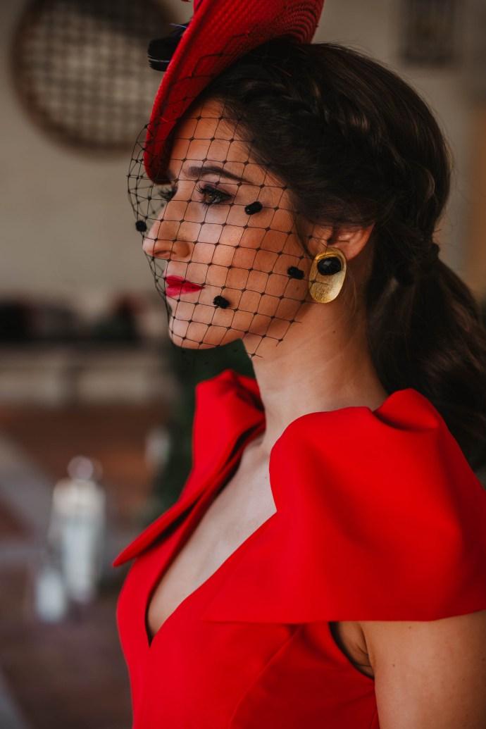 Pendientes invitada boda rojo negro