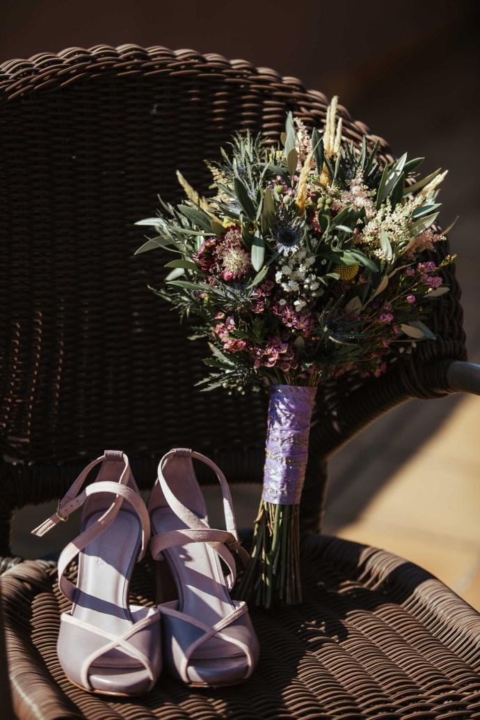 ramo novia silvestre morado