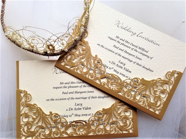 Example wedding invitation is on ivory card. We can also produce Golden Wedding Anniversary invitations in this design.