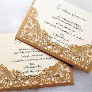 Gold Pocket Laser Cut Wedding Invites - £2.25 each