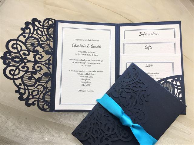 Navy Blue Laser Cut Pocketfold Invites