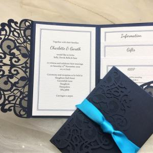 Navy Blue Laser Cut Pocketfold Invites