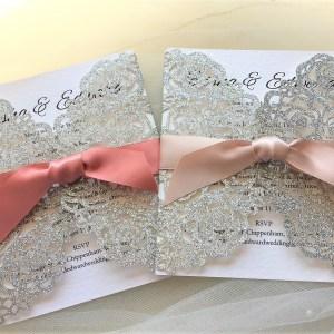Silver Rose Laser Cut Glitter Invites