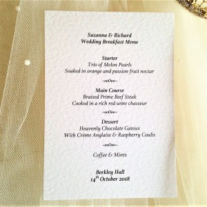 Postcard Personalised Menus