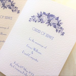 Blue Botanical Wedding Order of Service Books with Inserts
