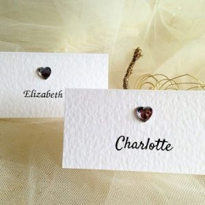 Diamante Heart Place Cards