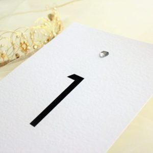 Diamante Heart Table Name and Table Number Cards