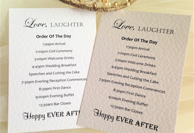 Wedding Order of Day Cards