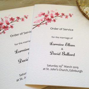 Cherry Blossom Order of Service Books