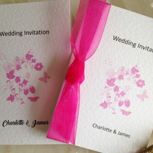 Pink Butterfly Wedding Invitations