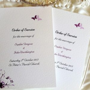 Small Purple and Lilac Butterfly Wedding Order of Service Books