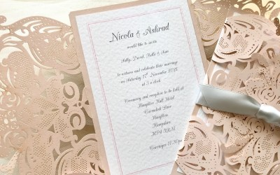 Blush Laser Cut Wedding Invitations