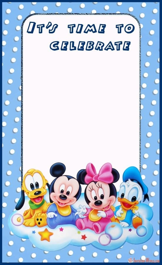 baby mickey mouse party invitation card