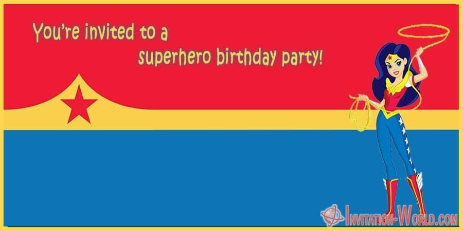 wonder woman superhero invitation card