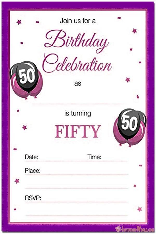 50th birthday invitation templates free and printable invitation world