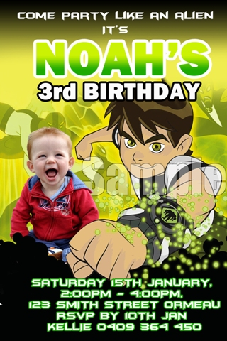 personalised ben 10 birthday party