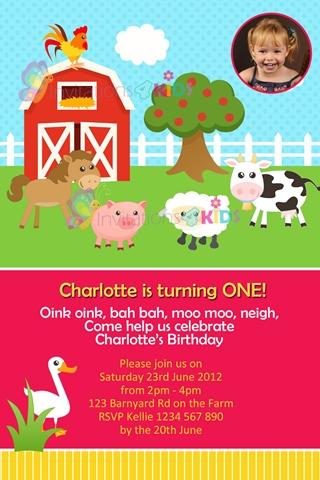 farmyard animal invites invitations 4