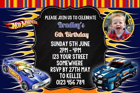 hot wheels invitations