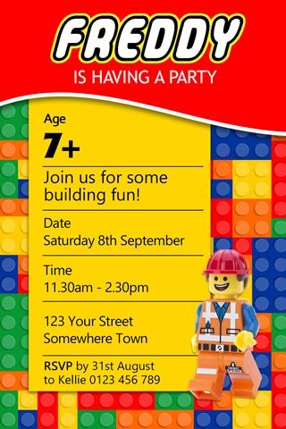 lego invites invitations 4 kids