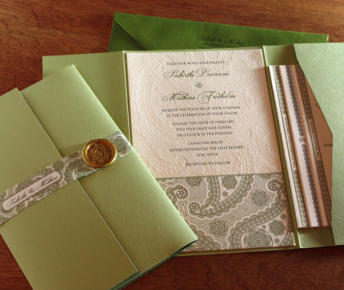 Oversized Indian Letterpress Wedding Invitation Set With Wax Seal And Belly Band On Pocket Foler