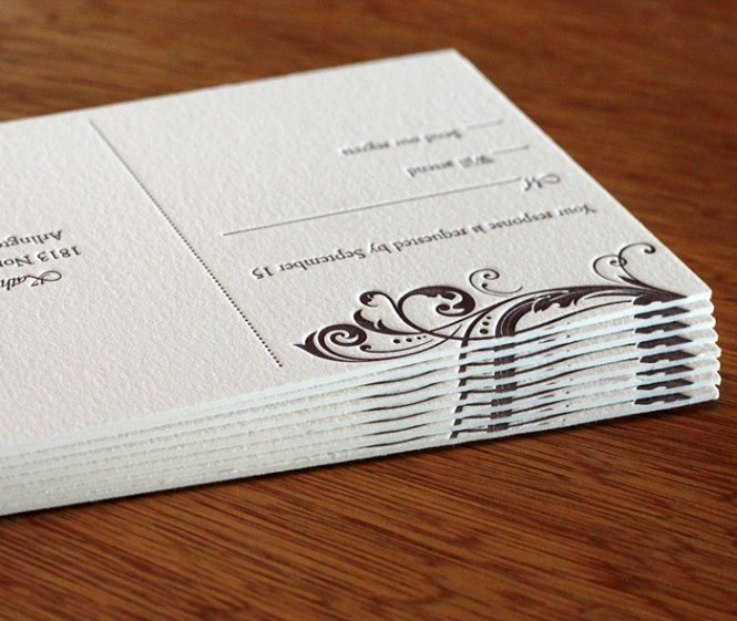 French Fold Wedding Invitation With Tracing Paper Inset