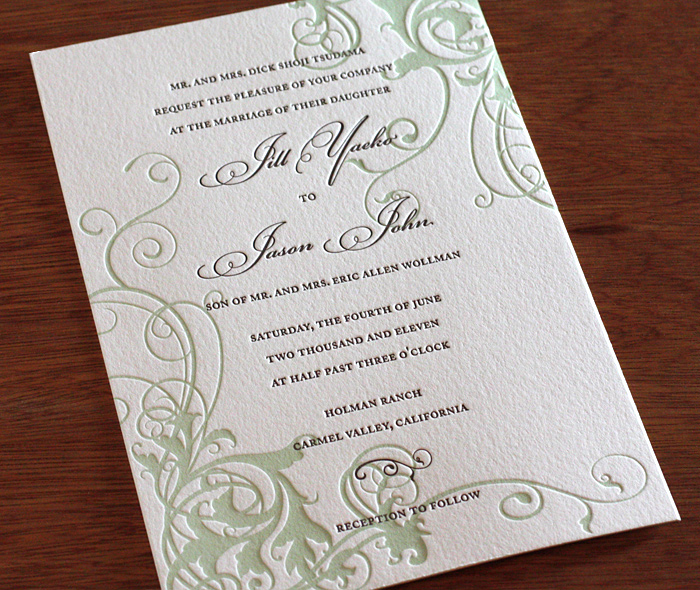 Beautiful Wedding Invitations With Curling Vines Printed In Almond Sage