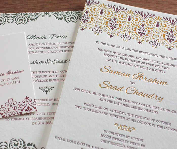 Victorian Letterpress Wedding Invitation Gallery Vine Lace