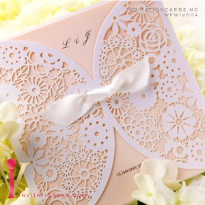Love Floral Lasercut Invitation Card with ribbon WFWIV004 is now available at invitationsng.com. Call 08173093902