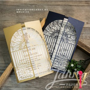 Laser Cut Invitation WPL0139 now available at invitationsng.com. Call 08173093902 or sales@invitatoinsng.com