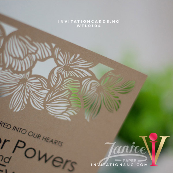 Flat Laser Cut Invitation Card WFL0104 is now available at invitationsng.com. Call 08173093902