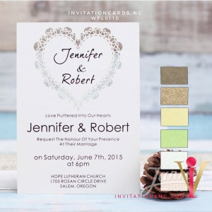Flat Laser Cut Invitation Card WFL0110 is now available at invitationsng.com. Call 08173093902