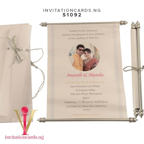 Indian Scroll Invitation S1092 now available in Nigeria at invitationsng.com